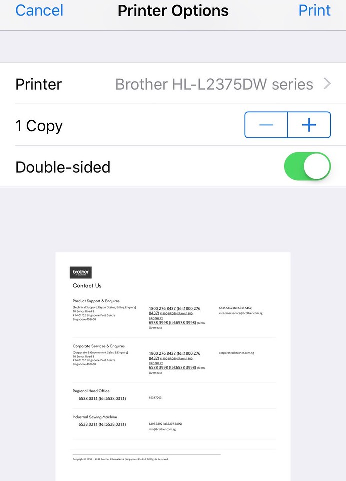 Brother HL-L2375DW Direct Printing in iPhone