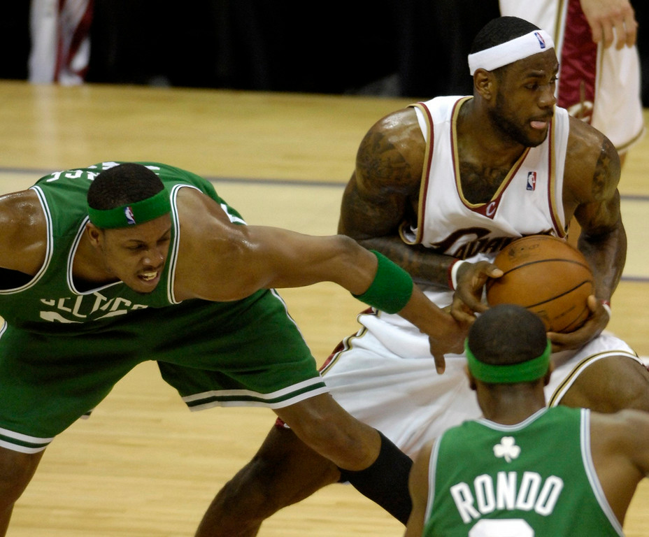 . Michael Blair/MBlair@News-Herald.com The Cavs LeBron James steals the ball from the Celtic\'s Paul Pierce during the third quarter of Saturday\'s Cavs victory at The Q.