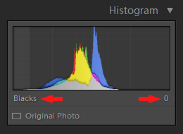 Lightroom Histogram - Blacks