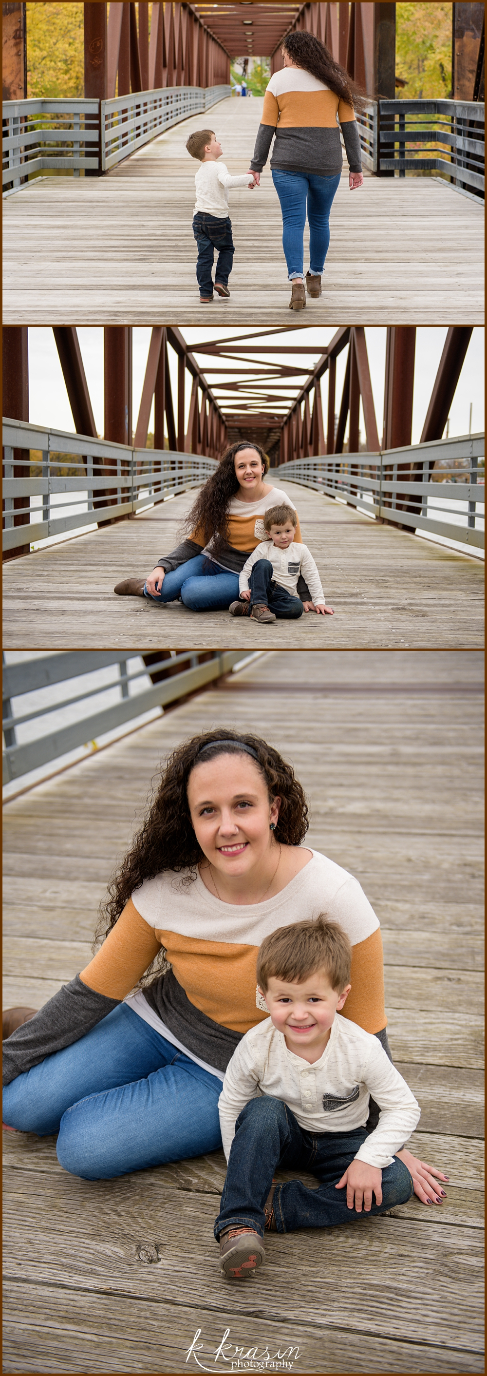 Collage of photos of mom and son walking and sitting on pier