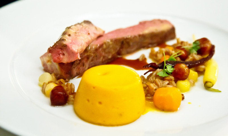 Slow cooked Brian Croser's Mayland Farm lamb with heirloom carrots, medjool dates and lamb sauce