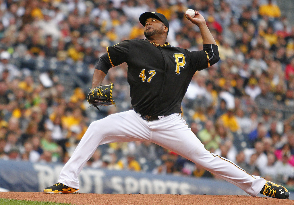 . PITTSBURGH, PA - JULY 18:  Francisco Liriano #47 of the Pittsburgh Pirates pitches in the first inning against the Colorado Rockies during the game at PNC Park on July 18, 2014 in Pittsburgh, Pennsylvania.  (Photo by Justin K. Aller/Getty Images)
