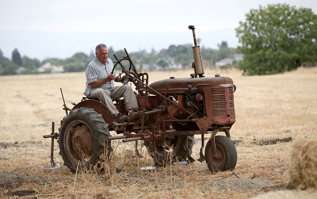 . David Giordano, farm manager,  parks his 1940\'s Farmall tractor at Martial Cottle Park in south San Jose, Calif. on Friday, Aug. 9, 2013 in preparation for a groundbreaking ceremony. An official ceremony took place today on what will be a new state and county park that will showcase the rich agricultural history of Silicon Valley. The 287 acres is one of the last working farms in San Jose.  (Gary Reyes/Bay Area News Group)