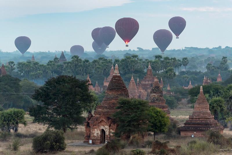 Hot-air Balloons over Bagan, Burma