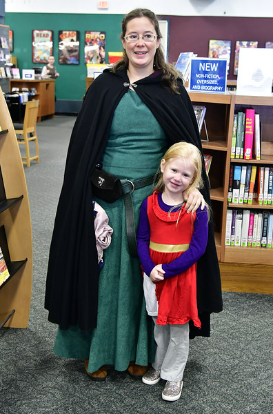 11/10/2018 Mike Orazzi | Staff Sarah Kastner and Abigail Berardino during a Renaissance Faire held at the Southington Public Library Saturday.