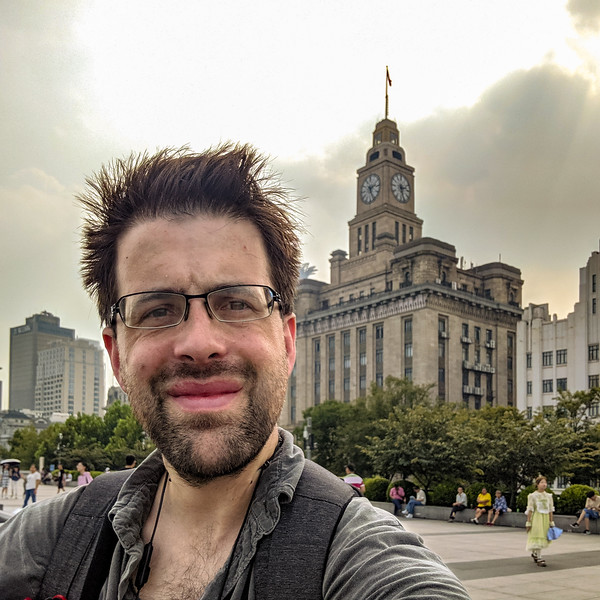 Selfie with art deco of the Bund.