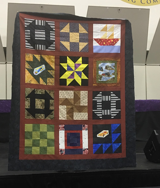 Dee chamberlain made this quilt from blocks from a small group.  top will be given to Bobbie Slider for Cancer Patients.