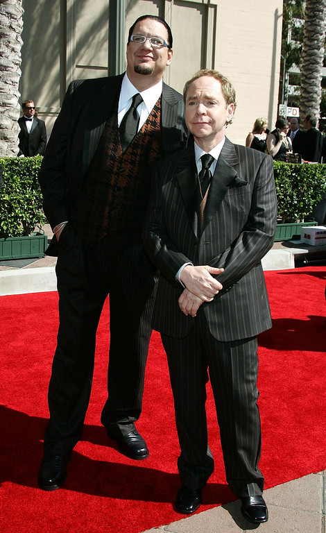 . LOS ANGELES, CA - AUGUST 19:  Magicians Penn Jillette (L) and Teller arrive at the 2006 Creative Arts Awards held at the Shrine Auditorium on August 19, 2006 in Los Angeles, California.  (Photo by Frazer Harrison/Getty Images)