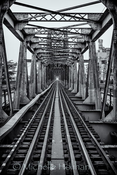 Railroad tracks at Long Bein Bridge in Hanoi, Vietnam