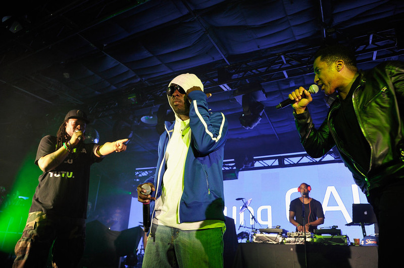 . (L-R) Musicians Jarobi White, Phife Dawg, Ali Shaheed Muhammad and Q-Tip of A Tribe Called Quest perform at the Samsung Galaxy Sound Stage presents A Tribe Called Quest and Prince at SXSW on March 16, 2013 in Austin, Texas.  (Photo by John Sciulli/Getty Images for Samsung)