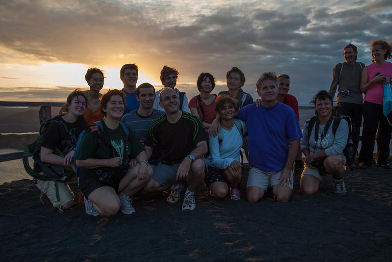 The group shot atop Bartolomé Island.