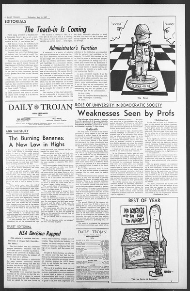 Daily Trojan, Vol. 58, No. 120, May 10, 1967