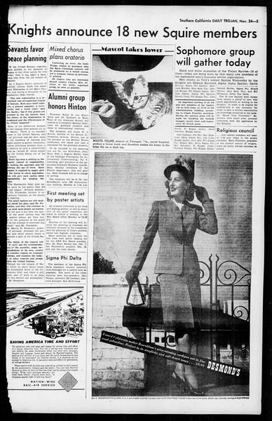 Daily Trojan, Vol. 36, No. 13, November 24, 1944