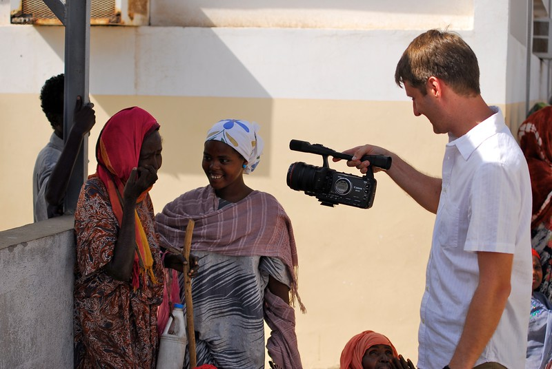 Andy Brown filming North African women  OFM team