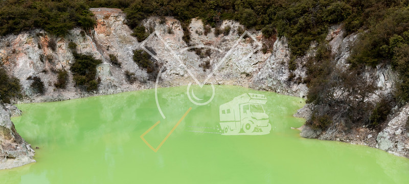The remarkable  Roto Karikitea green acid pool at Wai-O-Tapu geothermal area in Rotorua