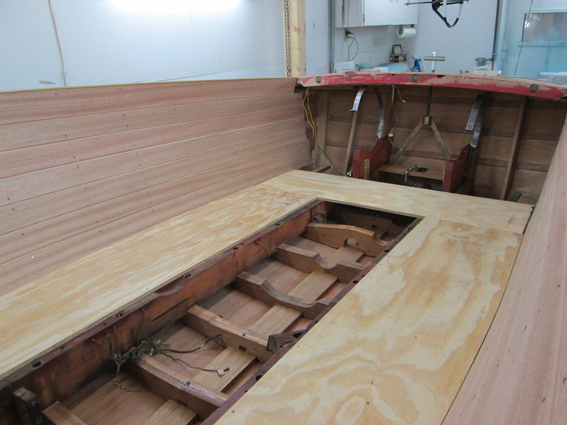 Another view of the new floor looking toward the transom.
