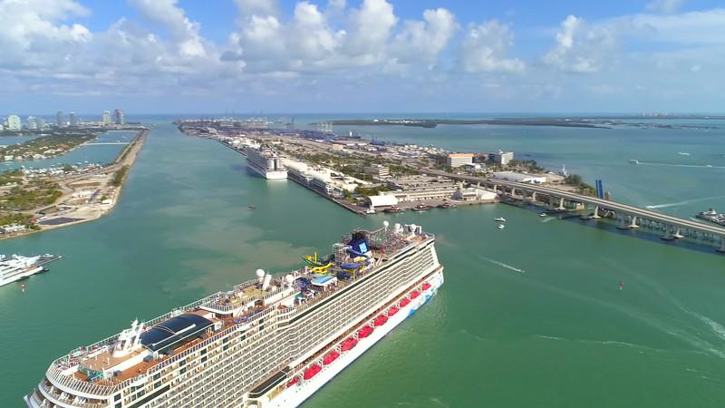 Aerial flyover Norwegian Escape Port Miami