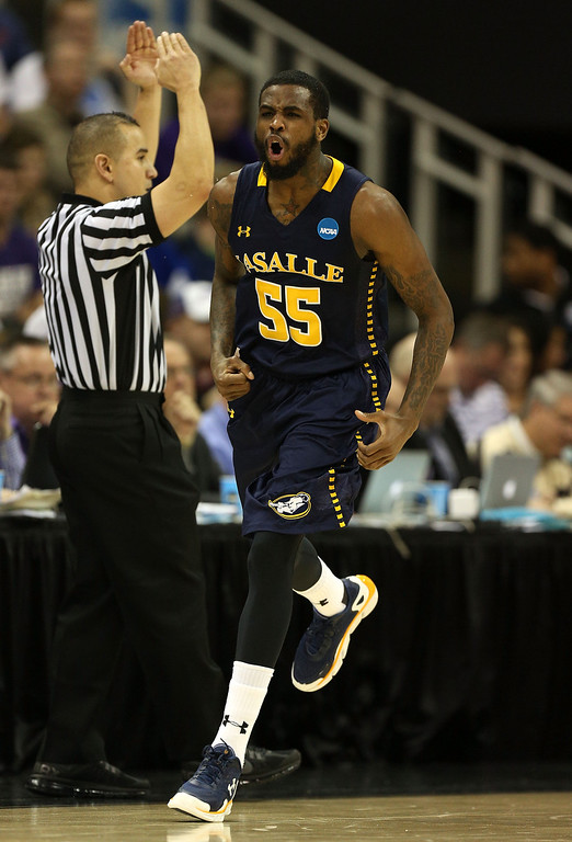 . KANSAS CITY, MO - MARCH 22:  Ramon Galloway #55 of the La Salle Explorers reacts in the first half against the Kansas State Wildcats during the second round of the 2013 NCAA Men\'s Basketball Tournament at the Sprint Center on March 22, 2013 in Kansas City, Missouri.  (Photo by Ed Zurga/Getty Images)