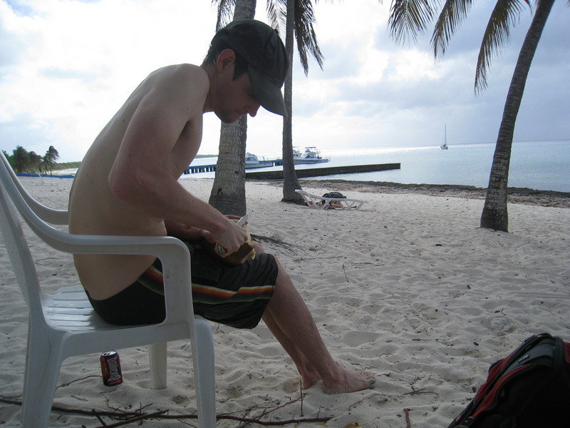 Cutting open a coconut