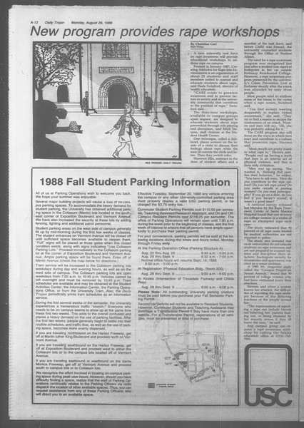 Daily Trojan, Vol. 107, No. 1, August 29, 1988