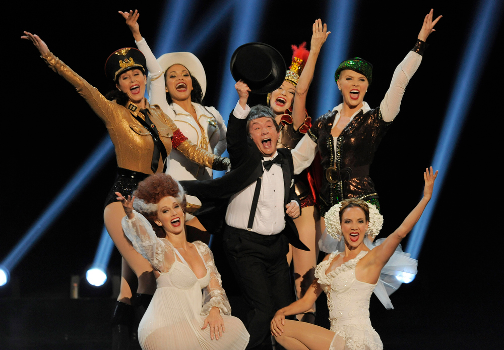 . Martin Short, center, and dancers perform a musical tribute to honoree Mel Brooks during the American Film Institute\'s 41st Lifetime Achievement Award Gala at the Dolby Theatre on Thursday, June 6, 2013 in Los Angeles. (Photo by Chris Pizello/Invision/AP)
