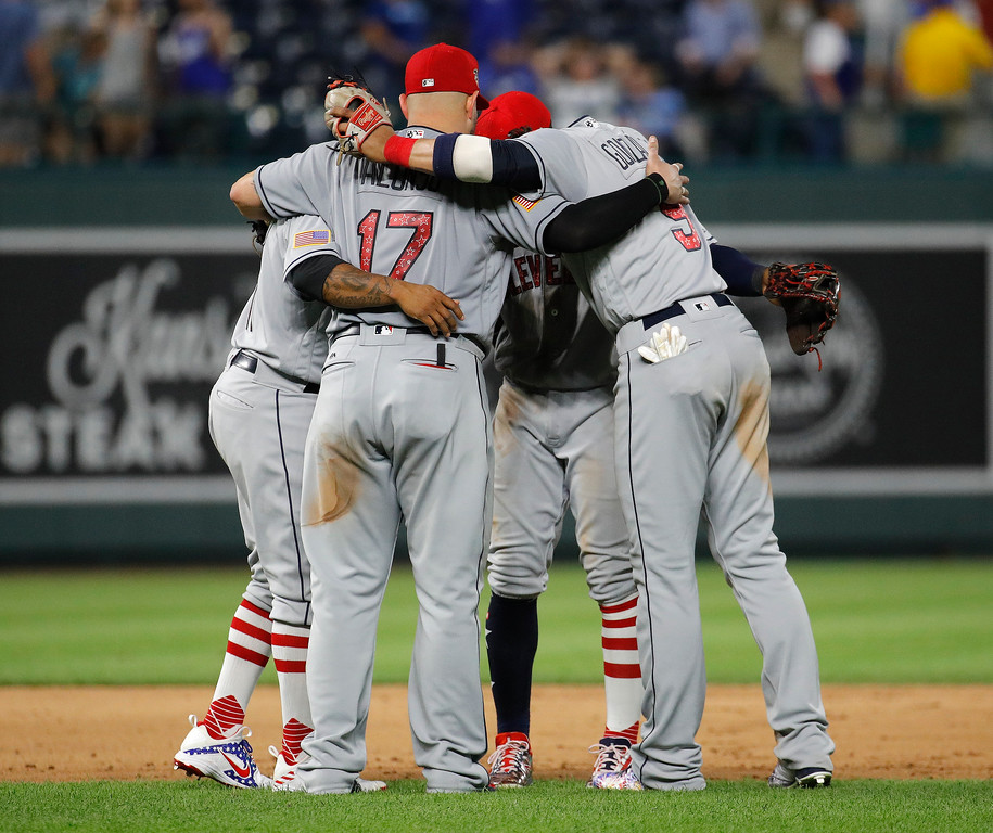 . Cleveland Indians gather after a baseball game against the Kansas City Royals on Tuesday, July 3, 2018, in Kansas City, Mo. Cleveland won 6-4. (AP Photo/Charlie Riedel)