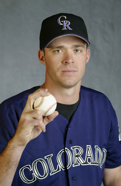 . Pitcher Scott Elarton #50 of the Colorado Rockies poses for a portrait during the Rockies\' spring training Media Day on February 24, 2003, at Hi Corbett Field in Tucson, Arizona.  (Photo by Brian Bahr/Getty Images)