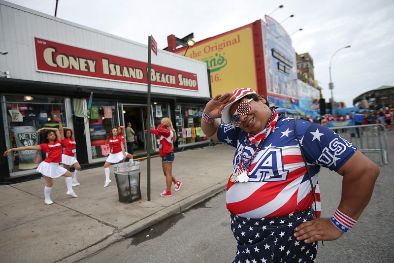. Paul Calienes poses for a photo before the Nathan\'s Famous Fourth of July International Hot Dog Eating contest at Coney Island, Friday, July 4, 2014, in New York. (AP Photo/John Minchillo)