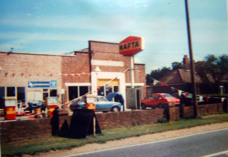 The original Spaldwick garage. This Spaldwick garage closed in May 1988. A bungalow occupied the area where the modern day service station is located (to the right). Photo provided by S1.