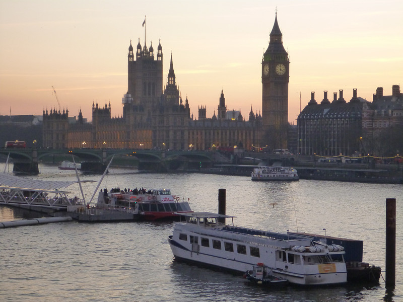 A sunset view of Big Ben and Parliment from the Waterloo Bridge, London, UK