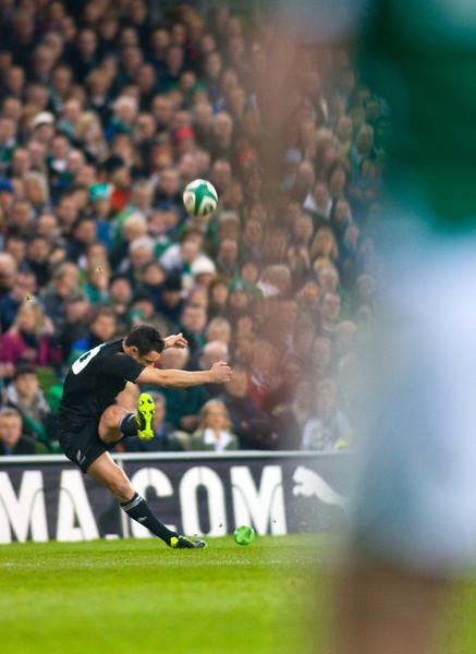 Dan Carter kicks for goal during the International rugby test with Ireland against the New Zealand All Blacks at Aviva Stadium Dublin, November 2010