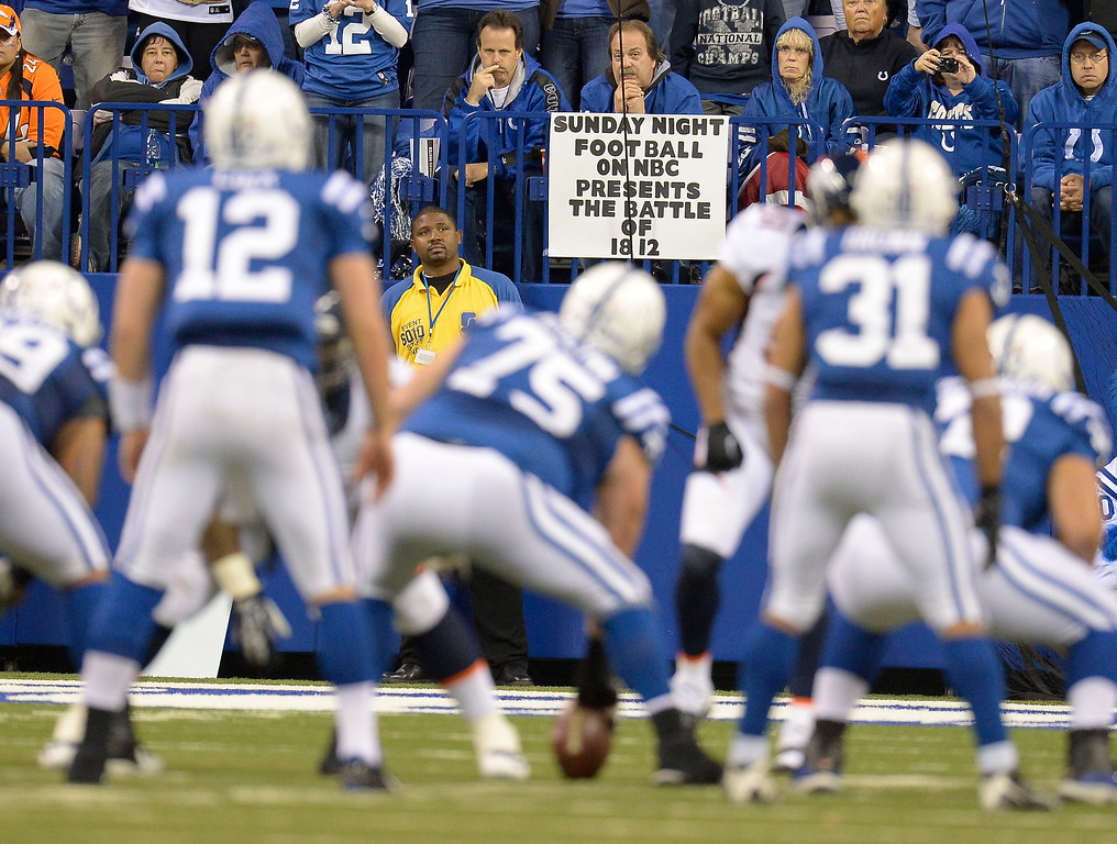 . Creative signs were hung up around the stadium during the Denver Broncos and Indianapolis Colts game October 20, 2013 at Lucas Oil Field. Photo by John Leyba/The Denver Post)