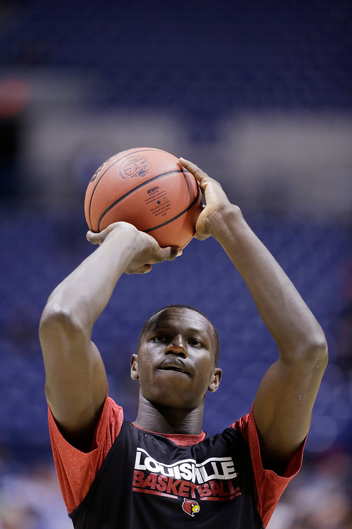 . <b>Gorgui Dieng </b> <br />6-10 C, Louisville � long defender Center, 6-11, 245. Averaged 9.8 points, 9.4 rebounds and 2.5 blocks as a junior for NCAA champion Louisville. Born in Senegal. Long defender with a wingspan of more than 7-4, excels protecting the rim. Raw offensively. (AP Photo/Darron Cummings)