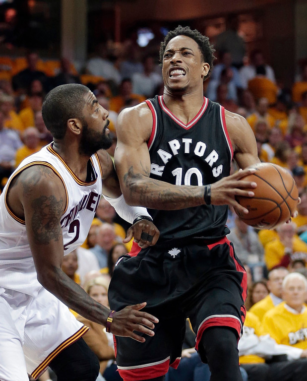 . Toronto Raptors\' DeMar DeRozan (10) drives against Cleveland Cavaliers\' Kyrie Irving (2) in the first half in Game 1 of a second-round NBA basketball playoff series, Monday, May 1, 2017, in Cleveland. The Cavaliers won 116-105. (AP Photo/Tony Dejak)