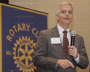 John Wojick of Boeing Commercial Airplanes speaks to the Rotary Club in Seattle