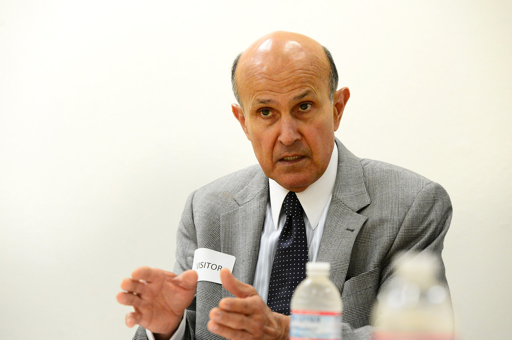 . Sheriff Lee Baca speaks to the editorial board of the Los Angeles News Group Wednesday, March 20, 2013 in West Covina. (SGVN/Staff Photo by Sarah Reingewirtz)
