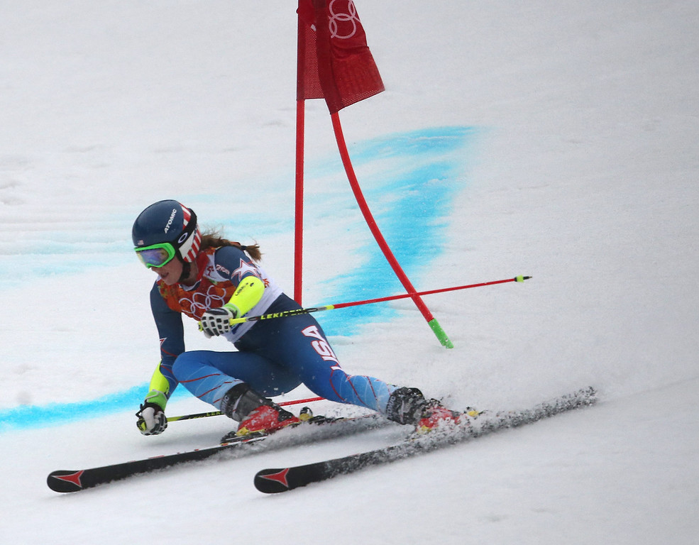 . epa04084678 Mikaela Shiffrin of the US in action during the first run of the Women\'s Giant Slalom at the Rosa Khutor Alpine Center at the Sochi 2014 Olympic Games, Krasnaya Polyana, Russia, 18 February 2014.  EPA/KARL-JOSEF HILDENBRAND