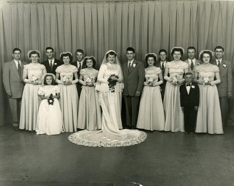Ron & Verna Clark wedding: Fred & Rita, Harvey & Germaine, John Paape (Verna's brother), Lois Olson, Judy Paape & Clarence, ? & Lester Paaper, Carol & Eddie.