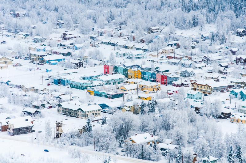 Dawson City covered in snow - Yukon, Canada