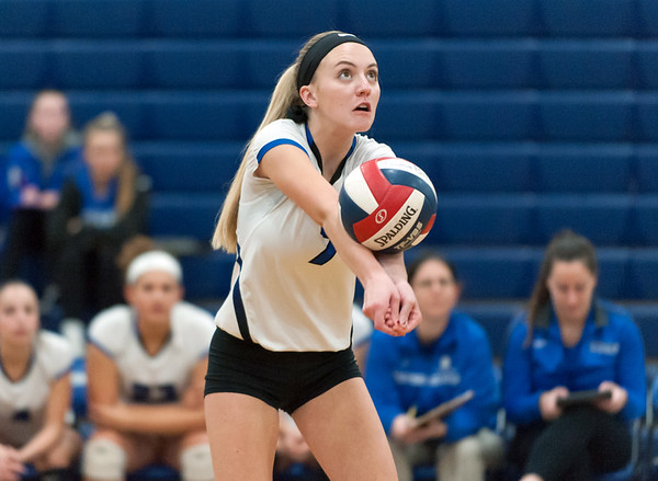 10/30/18 Wesley Bunnell | Staff Southington girls volleyball was defeated 15-10 in the 5th set by Farmington in a 2nd round CCC Tournament game on Tuesday night at Southington High School. Haley Larrabee (7).