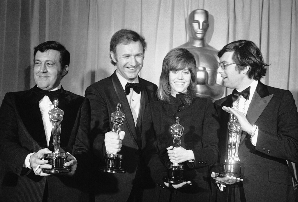 ". Four of the top winners at the Academy Awards ceremony at the Music Center in Los Angeles, Monday, April 11, 1972 pose with their Oscars after the presentations. From left: Philip D\'Antoni, producer of ""The French Connection,\"" named best picture; Gene Hackman, \""best actor\"" for role in \""The French Connection,\"" Jane Fonda, \""best actress\"" for role in \""Klute,\"" and William Friedkin, winner of \""best achievement in directing\"" for \""The French Connection.\"" (AP Photo)"