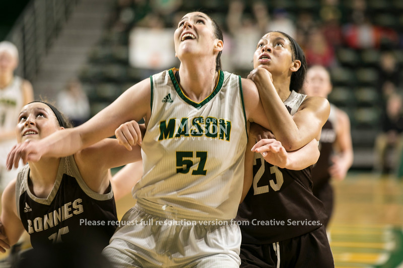 The George Mason women's basketball team defeated St. Bonaventure 89-79 in the first round of the Atlantic 10 Women's Basketball Championship at EagleBank Arena.  Photo by:  Ron Aira/Creative Services/George Mason University