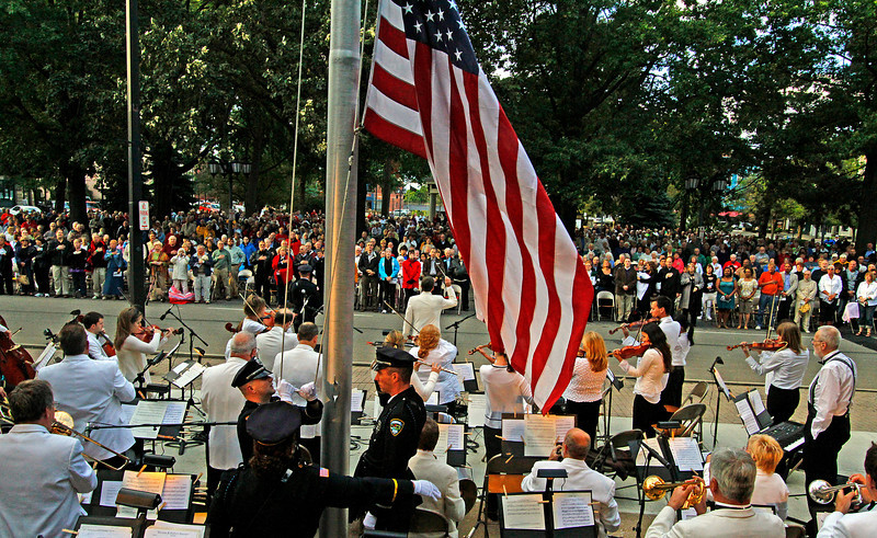 09/04/2010  Flag goes up and Star Spangled Banner is played. Photo by Tom Mahl
