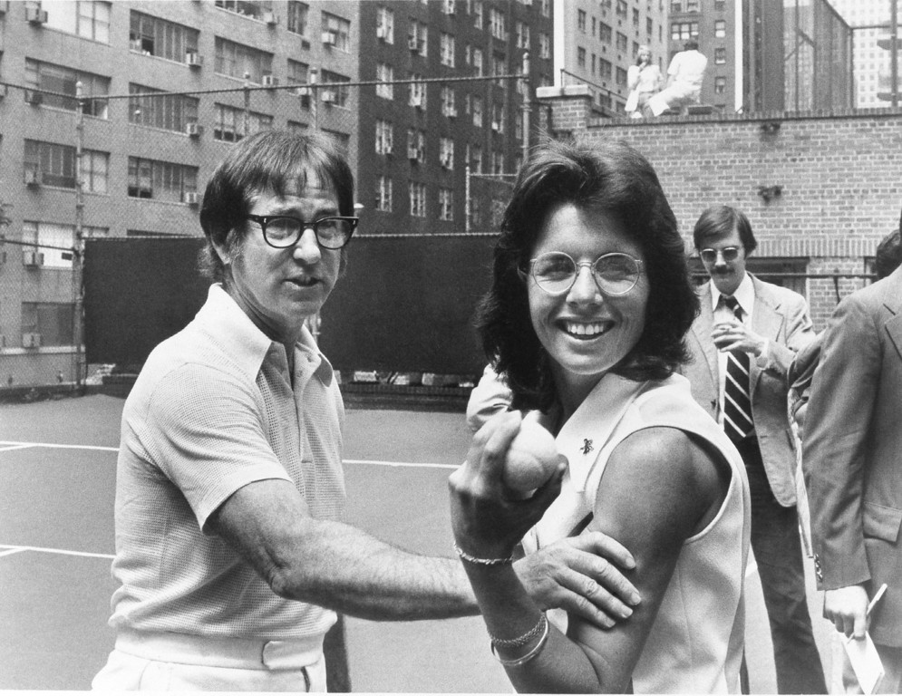 . Bobby Riggs, left, with Billie Jean King who will meet on Sept. 20, 1973 in a tennis match are shown  Aug. 1973. (AP Photo)