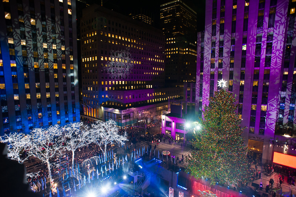 . The Rockefeller Center Christmas tree is lit on Wednesday, Dec. 3, 2014, in New York. (Photo by Charles Sykes/Invision/AP)