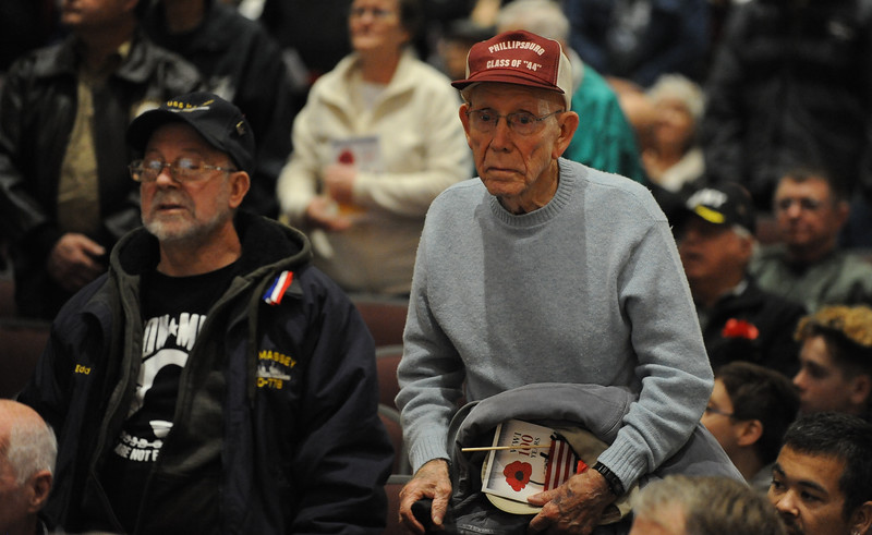 Veterans and their families stand to be recognized when their branch of the service is announced. Phillipsburg area veterans Sunday, Nov. 11, 2018  were honored during the 21st annual William L. Nixon tribute. Hundreds attended the event at Phillipsburg High School in Lopatcong Township, in which the U.S. Department of Veterans Affairs has honored as a regional site for the observance of the commemoration.