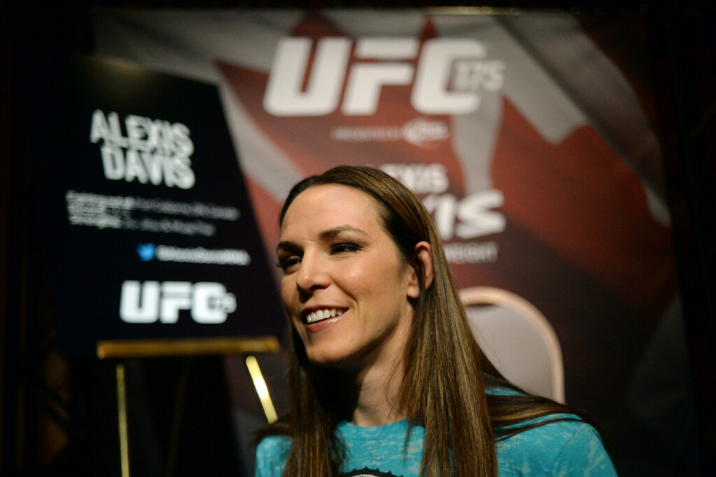 . UFC fighter Alexis Davis during Ultimate Media Day at the Mandalay Bay Events Center Thursday, July 3, 2014. (Photo by Hans Gutknecht/Los Angeles Daily News)