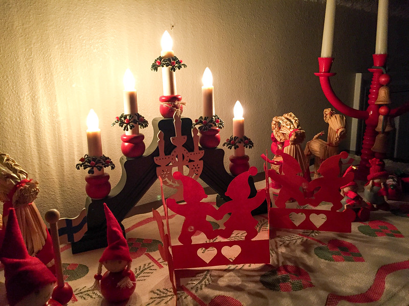 2016-12-16 – Lisa pretty much has the home decorated for Christmas now. This is one of her many tables. This one is totally Finnish Christmas pieces. I don't know if the Finns would view it the same way I do. To me it feels a little old world Europe. Either way, I like the feel it gives our home.