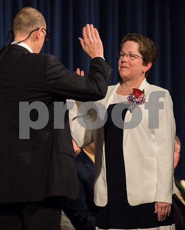 11/13/17 Wesley Bunnell | Staff The City of Bristol held their 2017 Inaugural on Monday evening at Bristol Eastern High School. Mary Fortier for City Council District 3 with the oath administered by David Fortier.