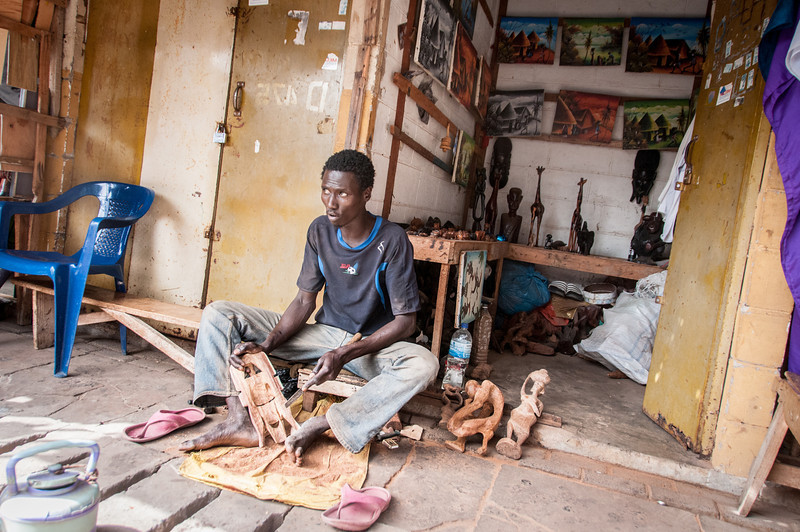 Local making handicrafts in Banjul, Gambia